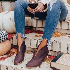 RESTOCKED 🍁 Wine V Cut Block Heel Bootie 🍂